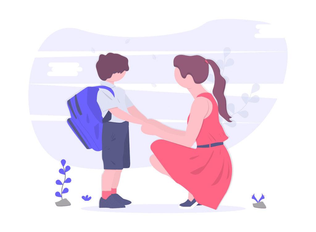 学校から子供が帰ってくる画像。