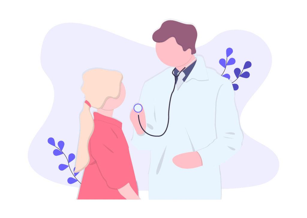 医者と子供の画像。