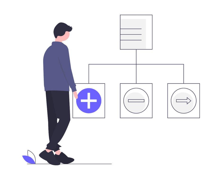 男性が3つのカテゴリーと1つを結び付けている画像。