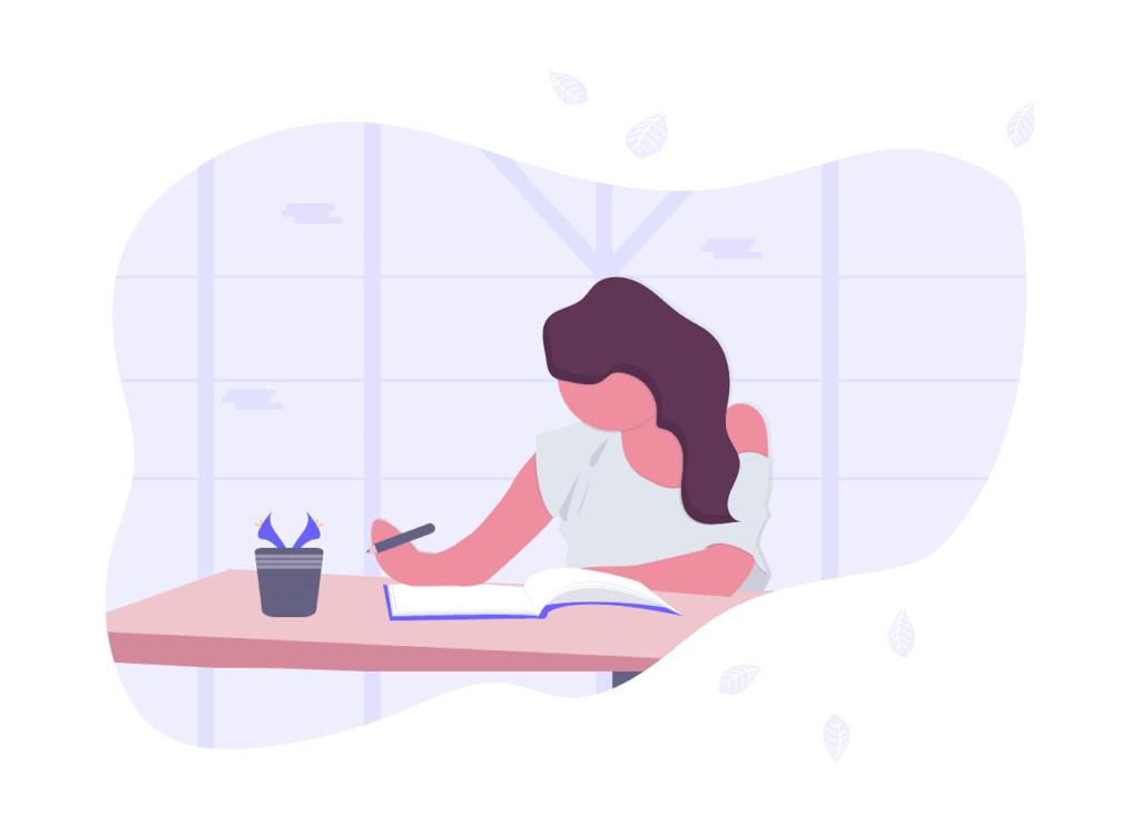 女性が机でノートを書いている画像。