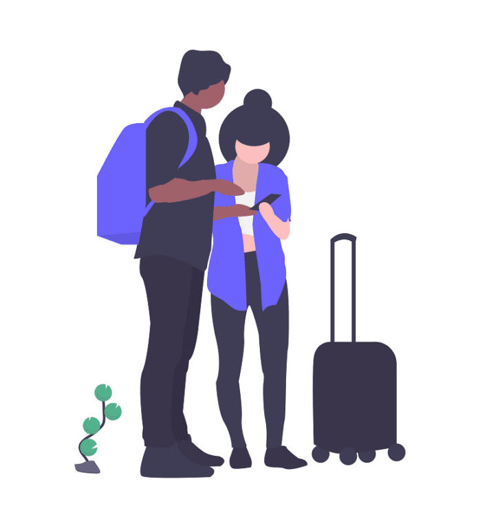 旅行する二人の画像。