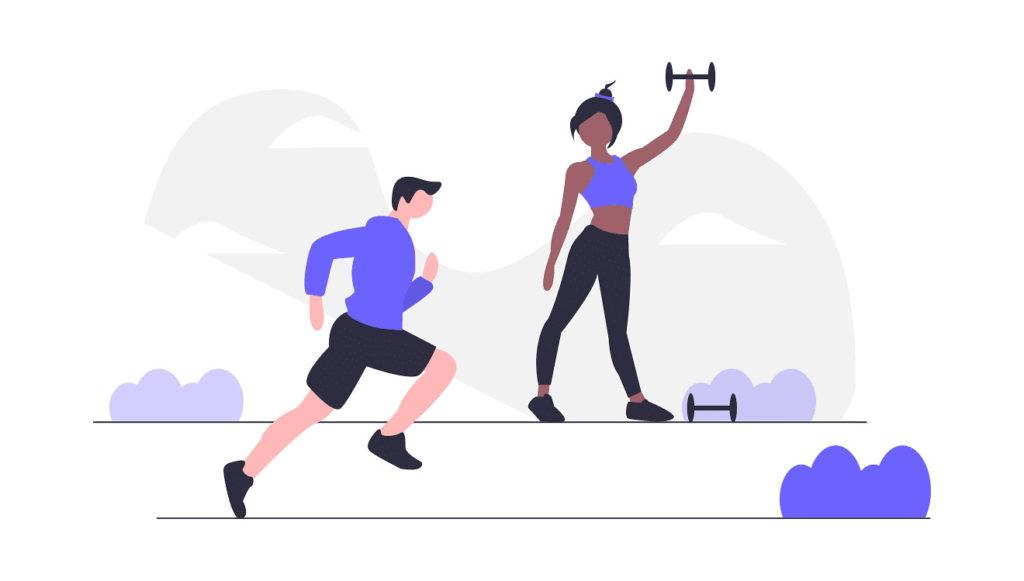 外で男性と女性が運動している画像。