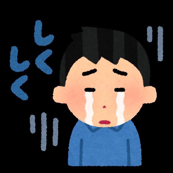 泣いている少年のイラスト。