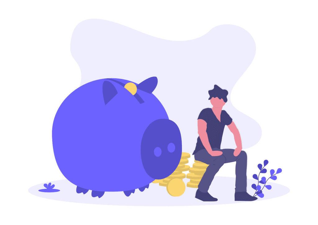 豚の貯金箱の画像。