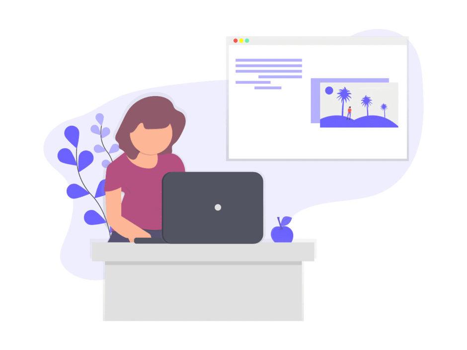 女性がブログを書く画像。