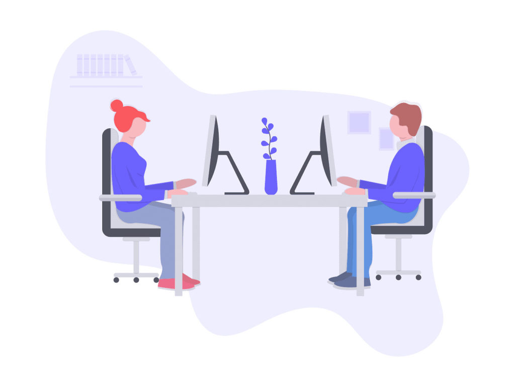 コアワーキングスペースで仕事をしている画像。