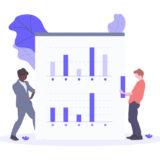 データのレポートをまとめる二人の画像。