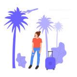 旅行先に出発する女性の画像。