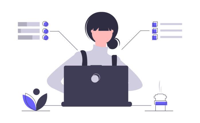 パソコンを使う女性の特徴をまとめた画像。