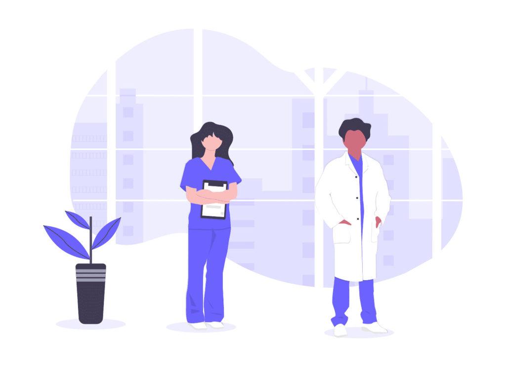 医者と看護師の画像。