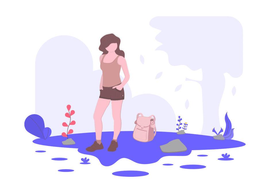 探検する女性の画像。