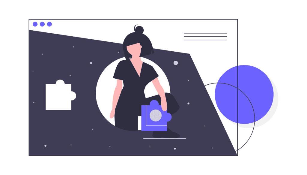 女性がパズルがぴったりはまる場所を探している画像。
