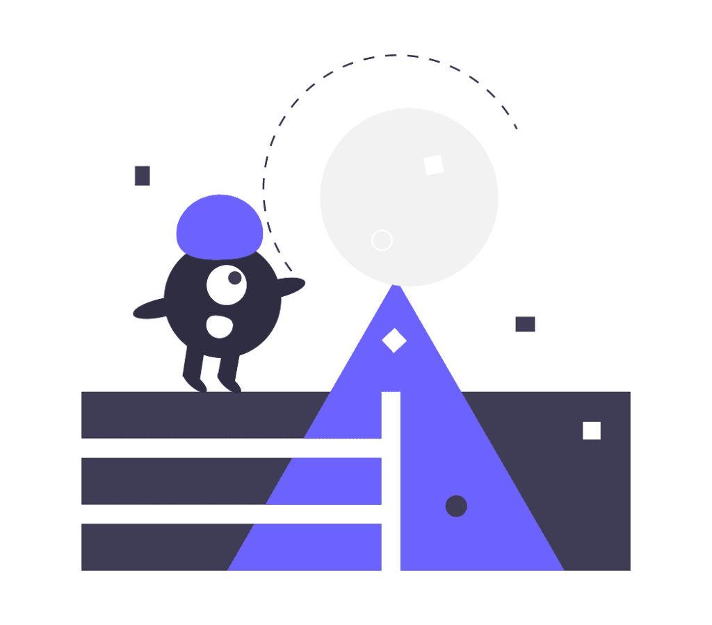キャラクターがボールを転がす画像。