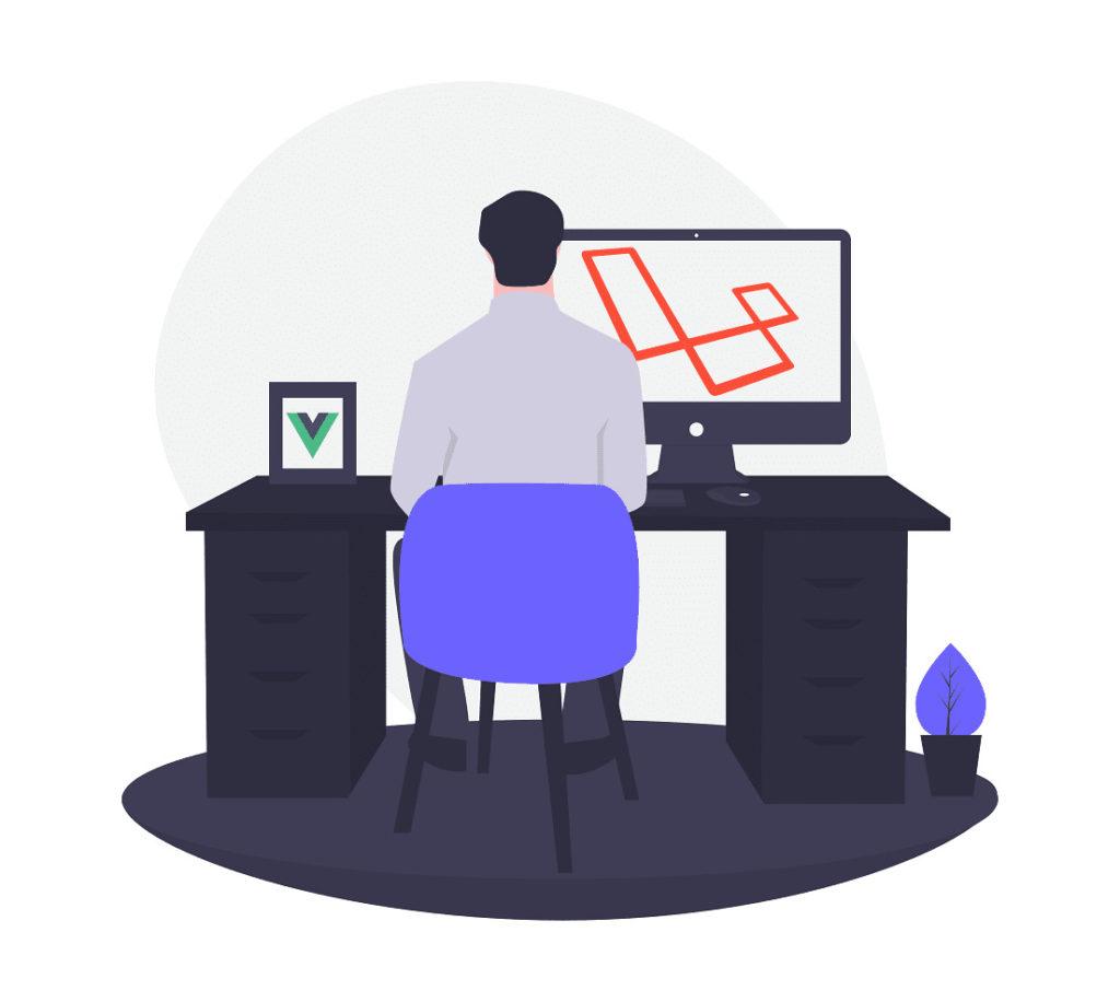 イスに座ってパソコンを使う男性の画像。