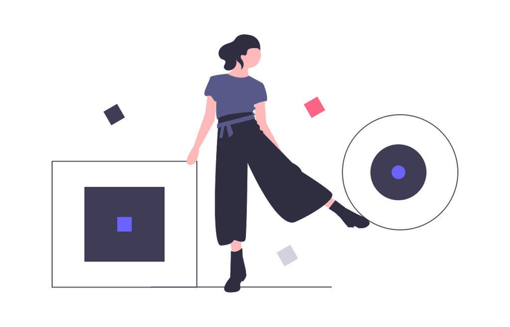 女性が四角と丸を組み合わせようとする画像。