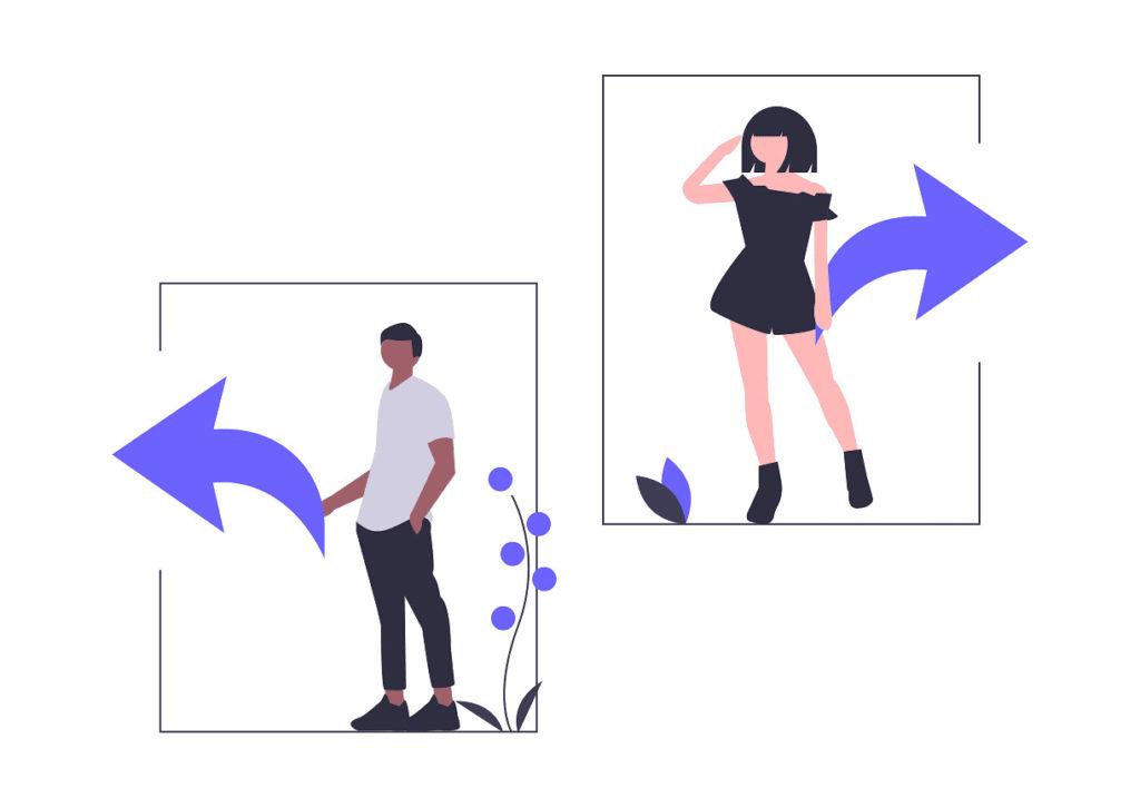 男性が左、女性が左に移動しようとする画像。