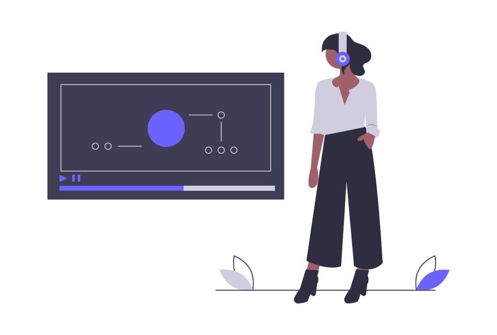 音楽を聞いている女性の画像。