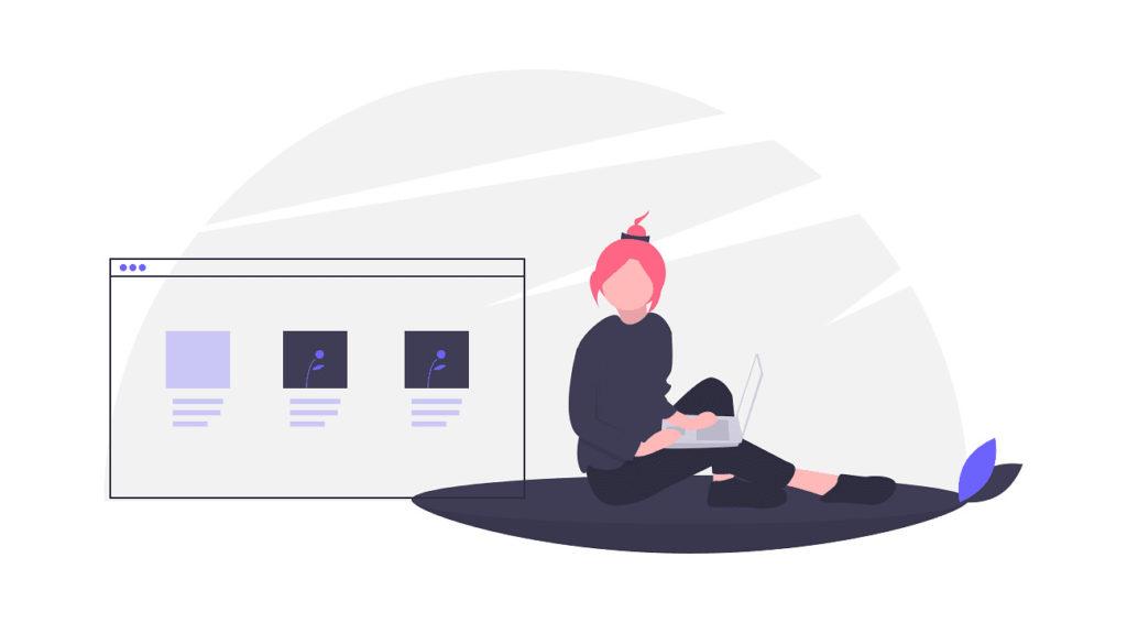 ウェブを開発する女性の画像。