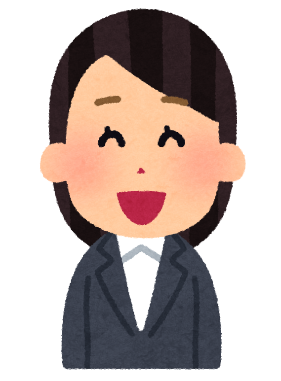 笑顔のビジネスウーマンのイラスト。