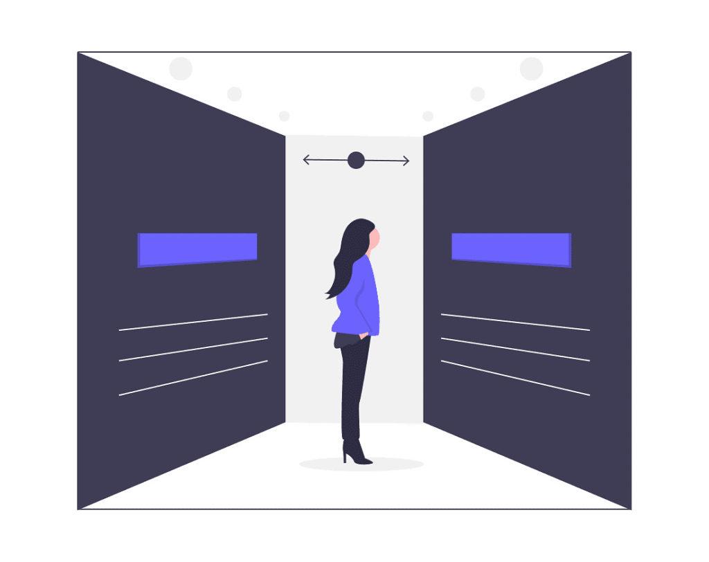 女性が2つのデータから選択している画像。