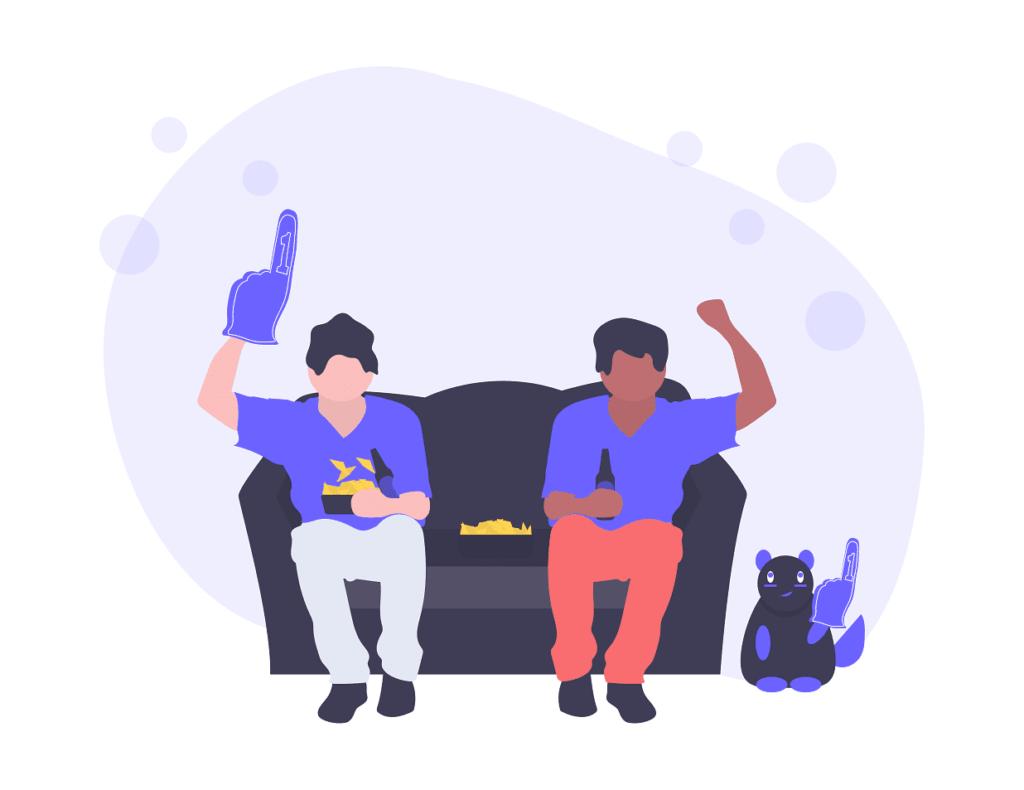2人の男性がゲームをしている画像。