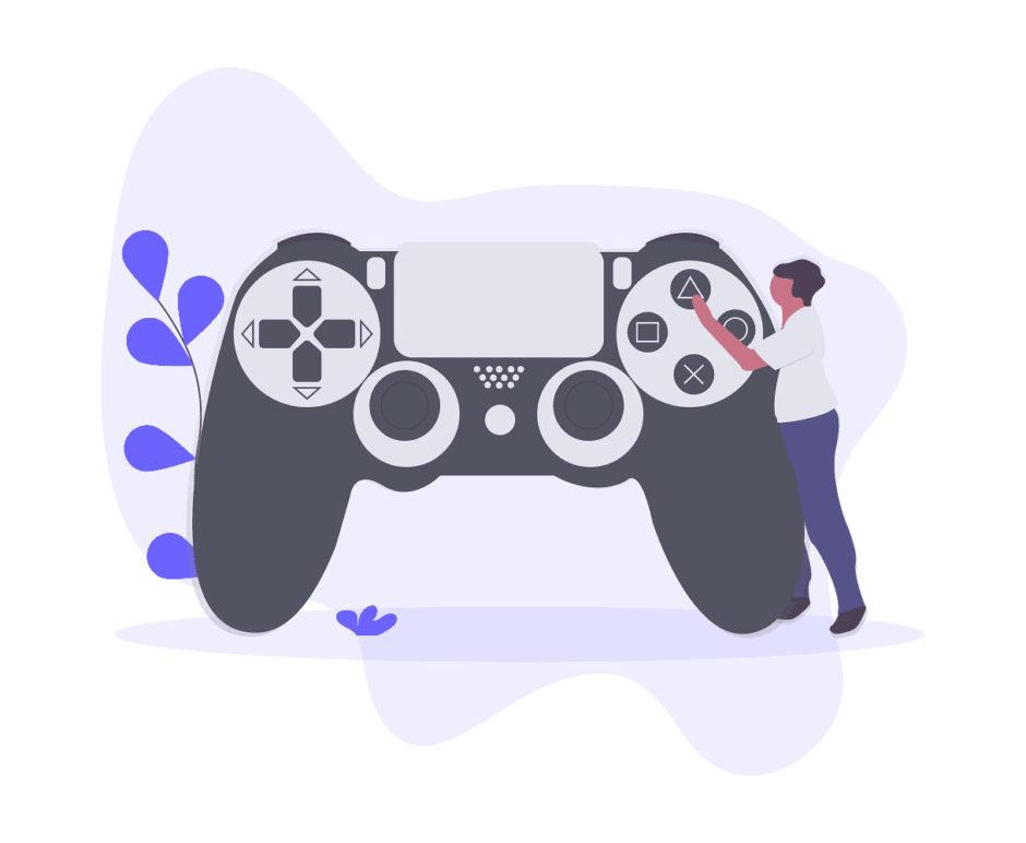 ゲームのコントローラーを触る男性の画像。