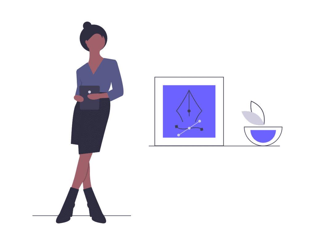 インテリアをデザインする女性の画像。