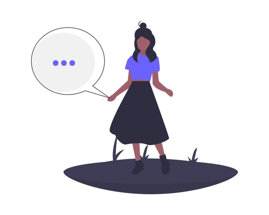 女性が話しているだけの画像。