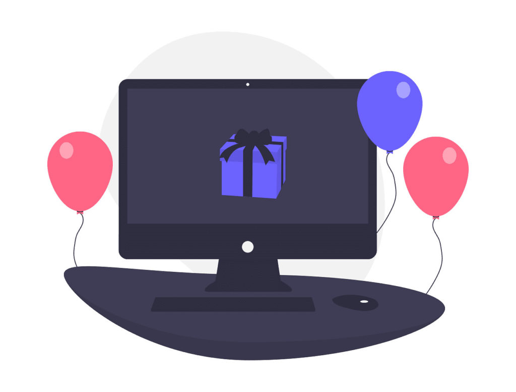 パソコンにプレゼントが写っている画像。