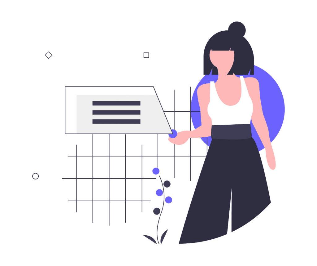 女性がサービスを見る画像。