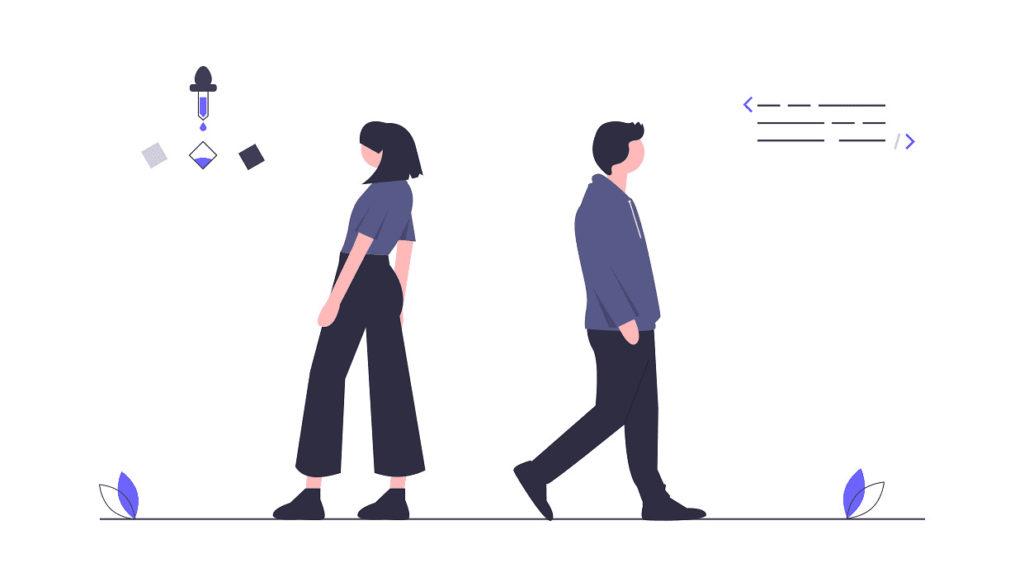 男性と女性が背中合わせの画像。