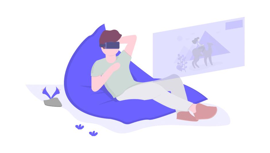 VRを見ている男性の画像。