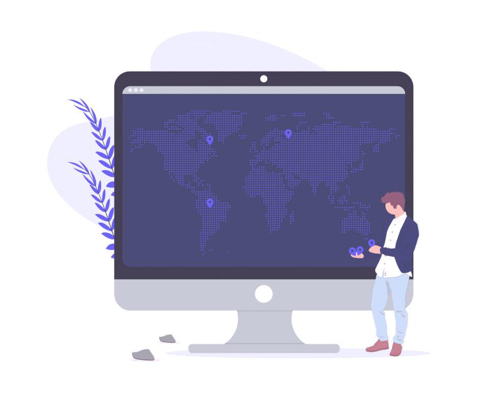 世界地図を見ている男性の画像。