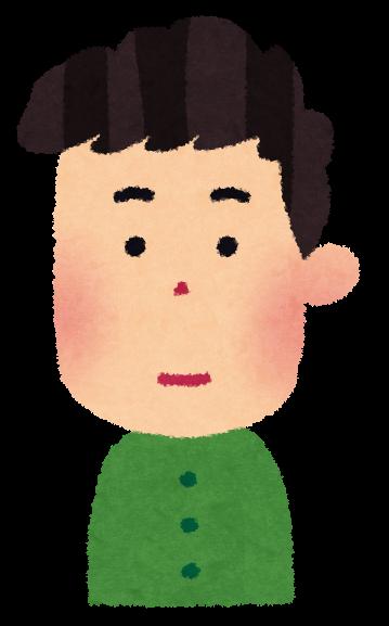 真顔の男性のイラスト。