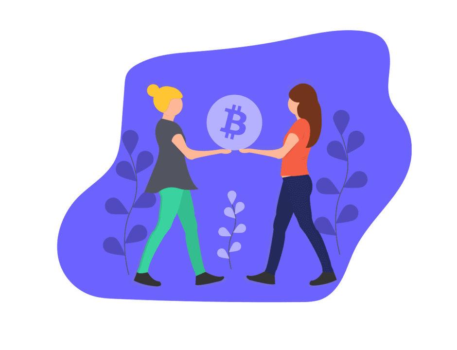 2人の女性がお金を持つ画像。