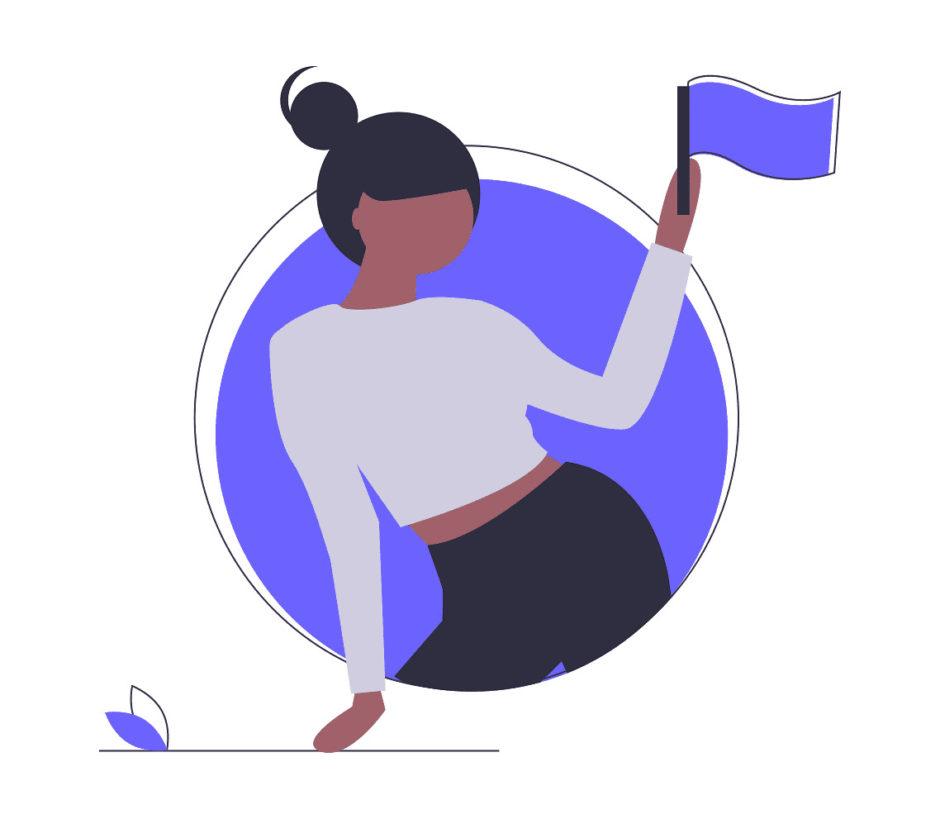 お祝いに旗を振る女性の画像。