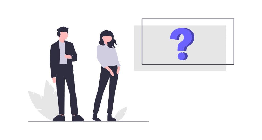 男性と女性がクイズに答えている画像。