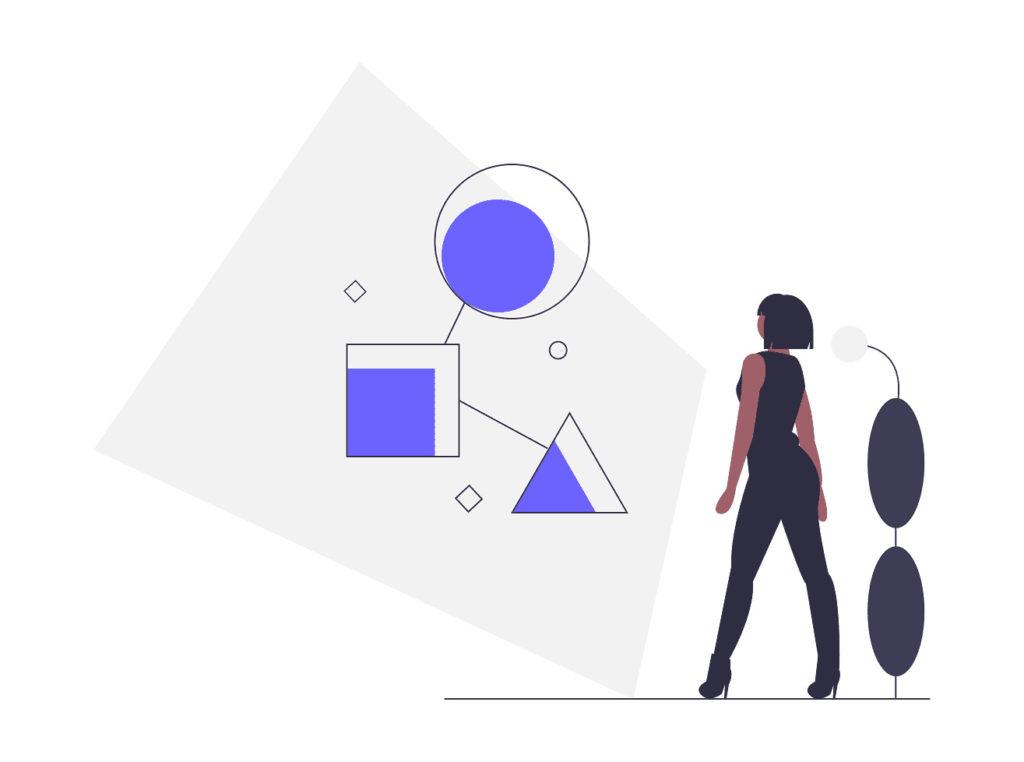 女性がアイデアを組み合わせている画像。