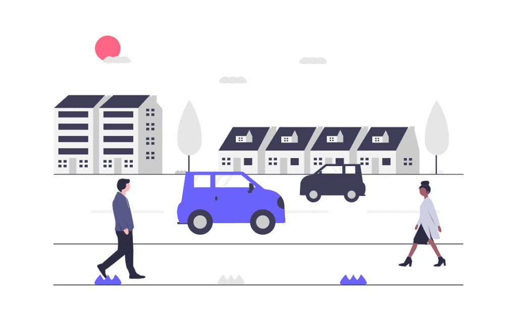 街中を男性が歩く画像。