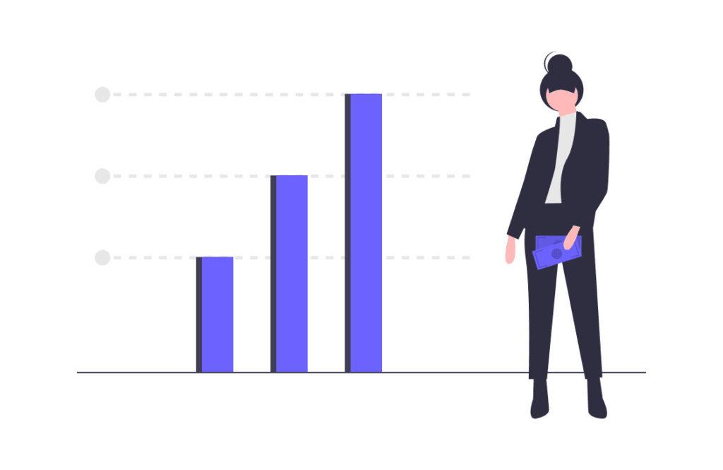 投資のデータを確認する女性の画像。