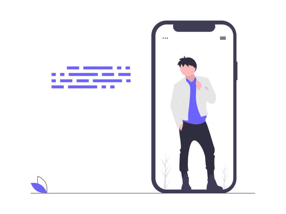 携帯を自分認証にしている画像。