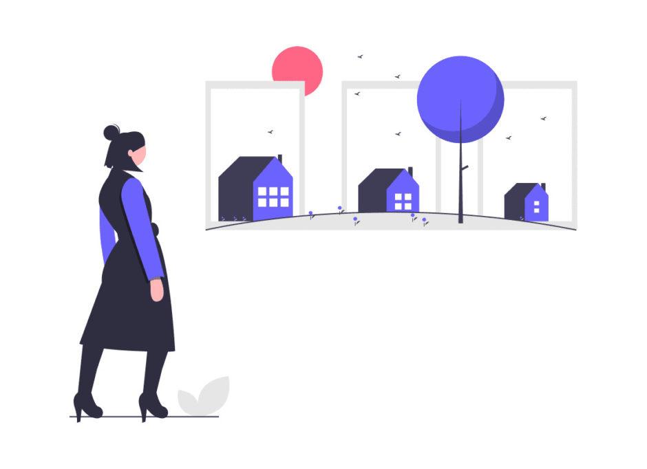 家を選ぶ女性の画像。