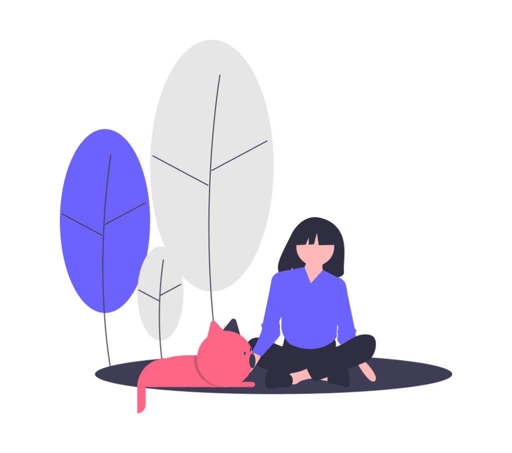 友達の猫と一緒にいる女性の画像。