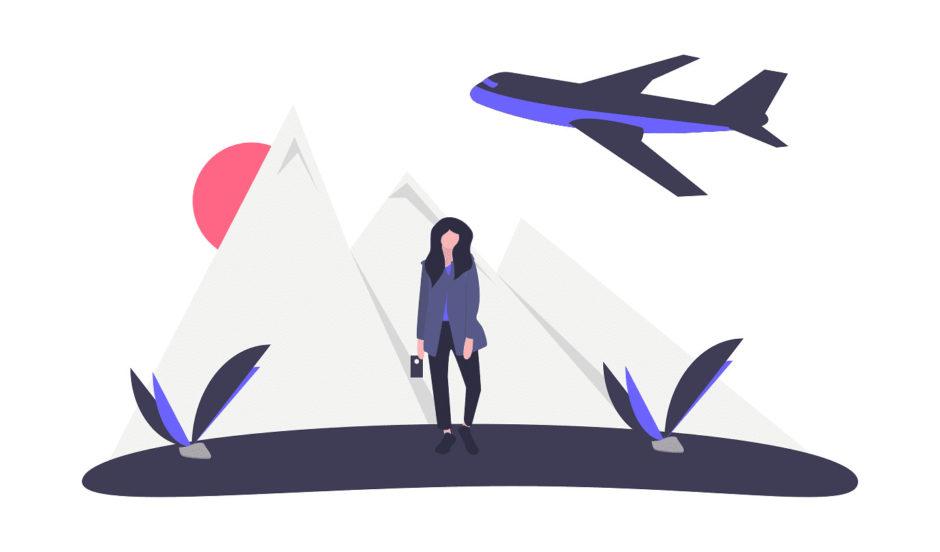 旅する女性の画像。