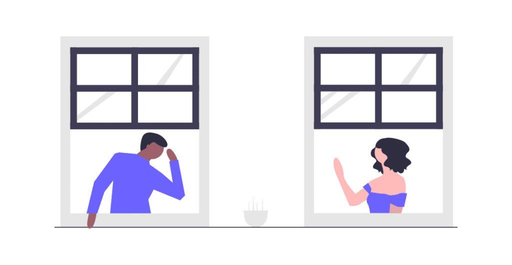 隣人と話す画像。