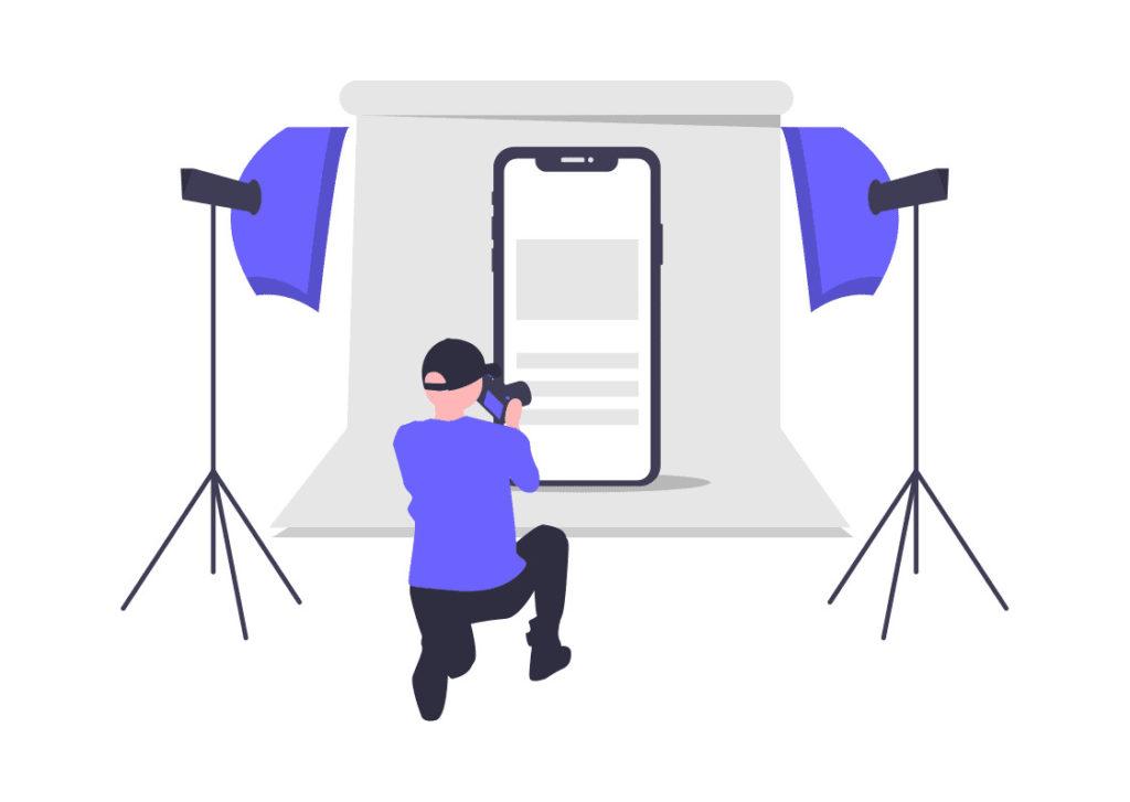 製品の写真を撮っている画像。