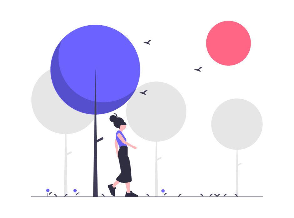 外を歩く女性の画像。