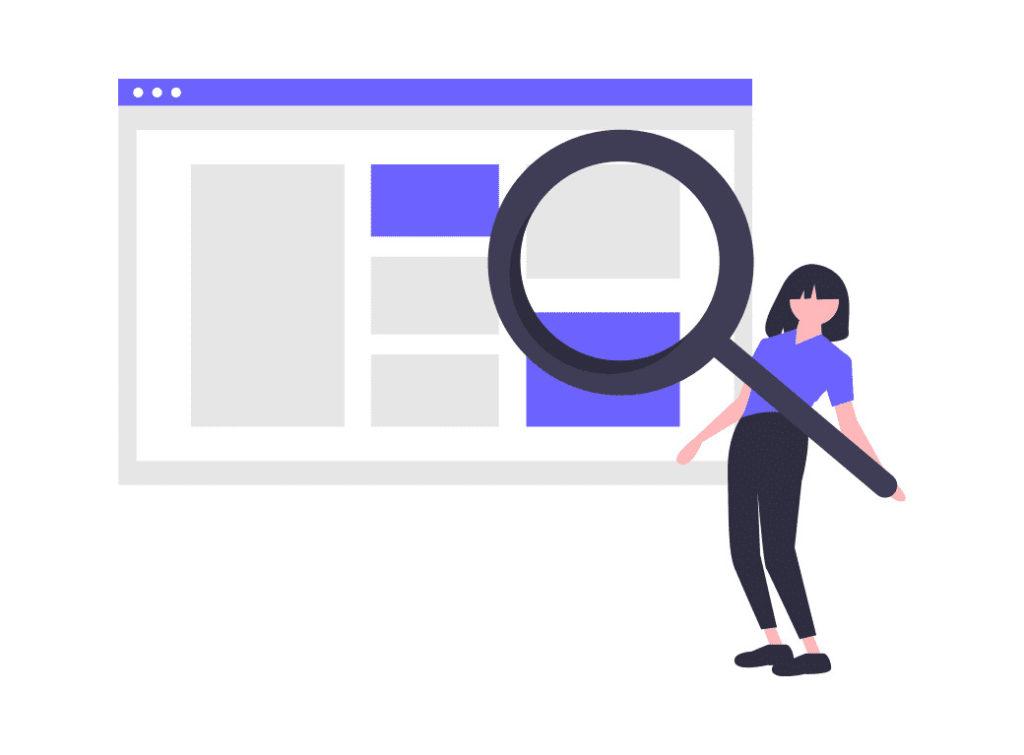 ウェブで検索する女性の画像。