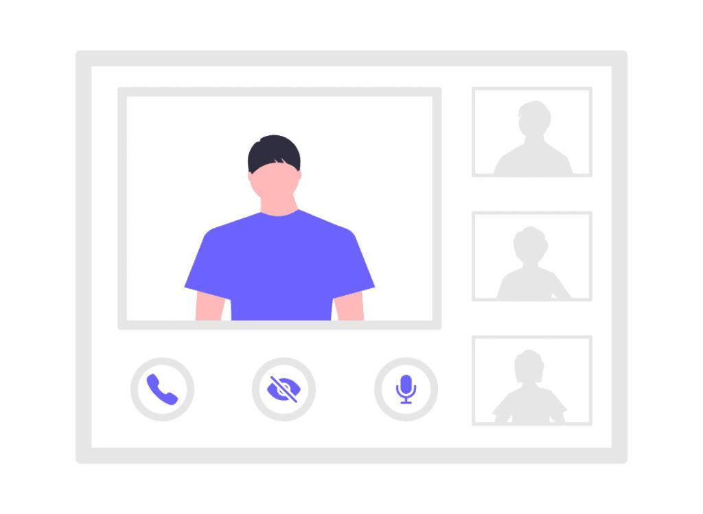 グループ通話をしている画像。