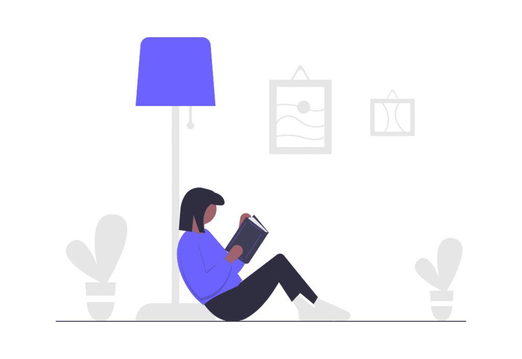 女性の読書の時間の画像。